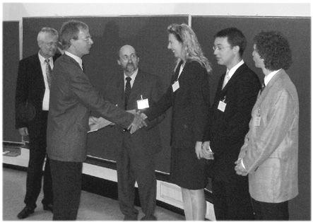 v.l.n.r.: Prof. Dr. Peter Kleinschmidt, Dr. Heinrich Braun (SAP AG), Prof. Dr. Uwe Zimmermann, Dr. Kirstin Zimmer, Dr. Norbert Trautmann, Dr. Moritz Fleischmann