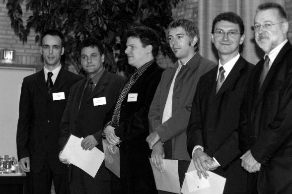 v.l.n.r.: Dr. Thomas Kasper (SAP AG), Dr. Eric Sucky, Dr. Jörn Schönberger, Dr. Alexander Hall, Dr. Gregor Dudek, Prof. Dr. Gerhard Wäscher (Vorsitzender des Vorstandes der GOR)